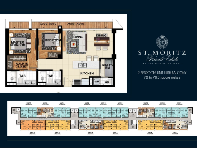 St. Moritz 2 Bedroom Unit Layout Floorplan