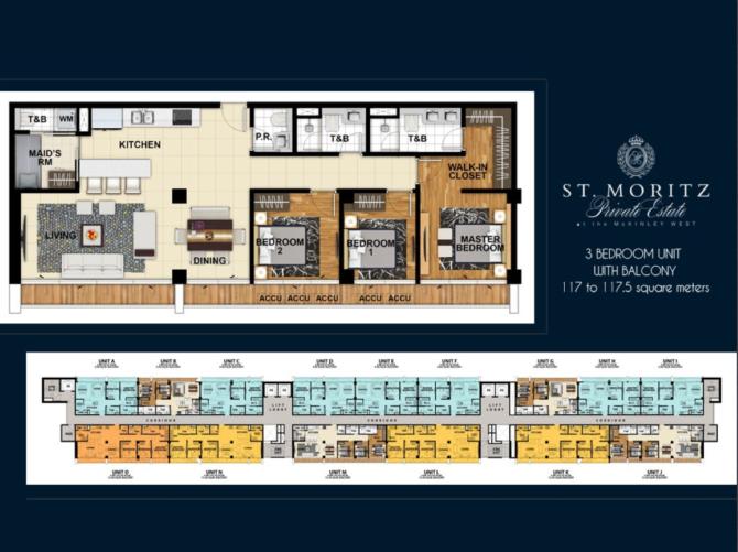 St. Moritz 3 Bedroom Unit Layout Floorplan